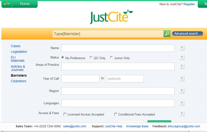 JustCite Barristers search