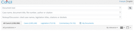 Screencap of CanLII search fields and primary filter tabs.