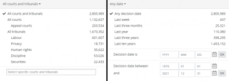 Screencap of expanded 'case courts and tribunals' and 'case decision date' subfilter tabs.