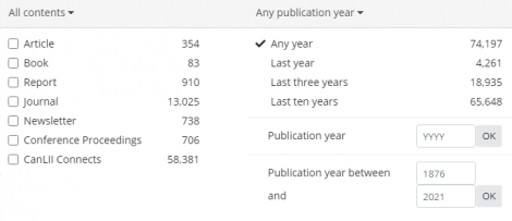 Screencap of expanded 'commentary content' and 'commentary publication' subfilter tabs.